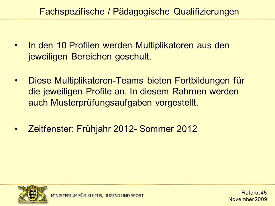 Referat 45 November 2009 In den 10 Profilen werden Multiplikatoren aus den jeweiligen Bereichen geschult. Diese Multiplikatoren-Teams bieten Fortbildu