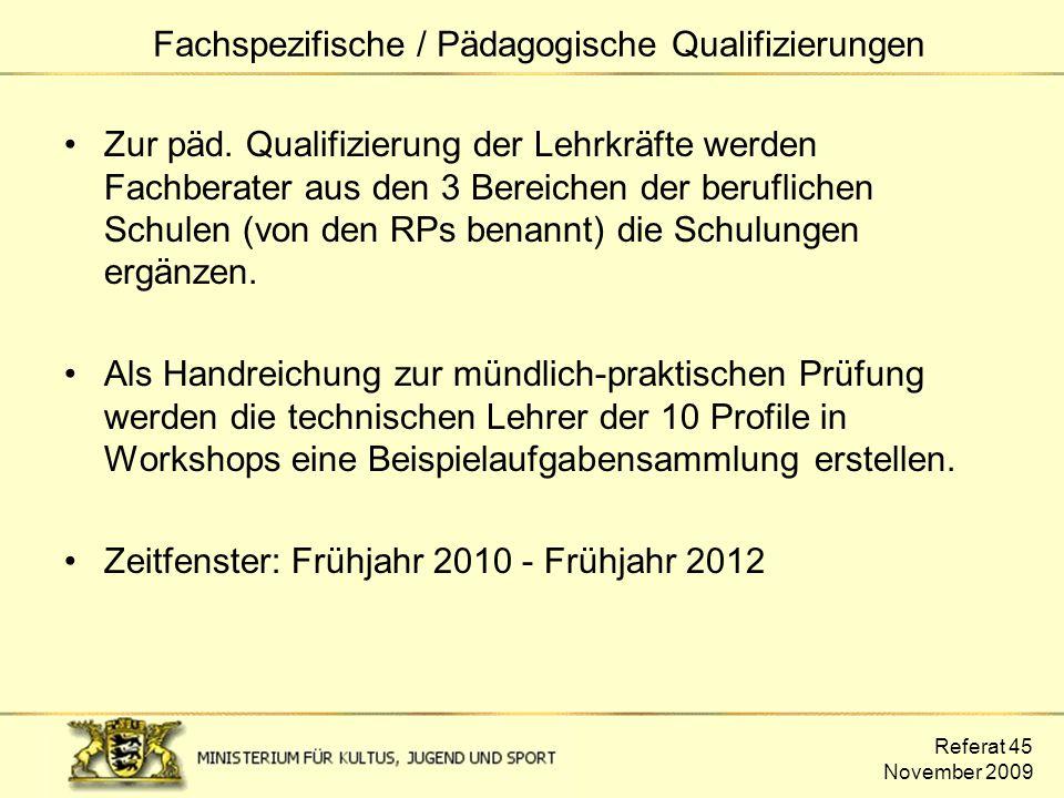 Referat 45 November 2009 Zur päd. Qualifizierung der Lehrkräfte werden Fachberater aus den 3 Bereichen der beruflichen Schulen (von den RPs benannt) d