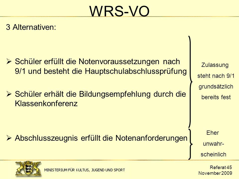 Referat 45 November 2009 WRS-VO 3 Alternativen:  Schüler erfüllt die Notenvoraussetzungen nach 9/1 und besteht die Hauptschulabschlussprüfung  Schül