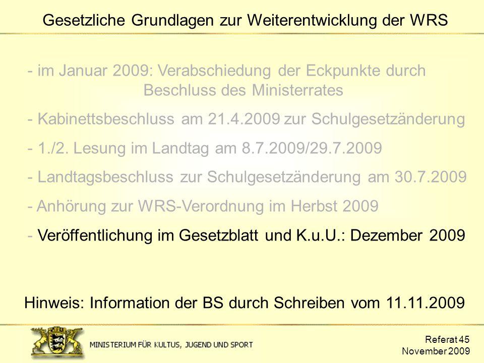 - im Januar 2009: Verabschiedung der Eckpunkte durch Beschluss des Ministerrates - Kabinettsbeschluss am 21.4.2009 zur Schulgesetzänderung - 1./2. Les