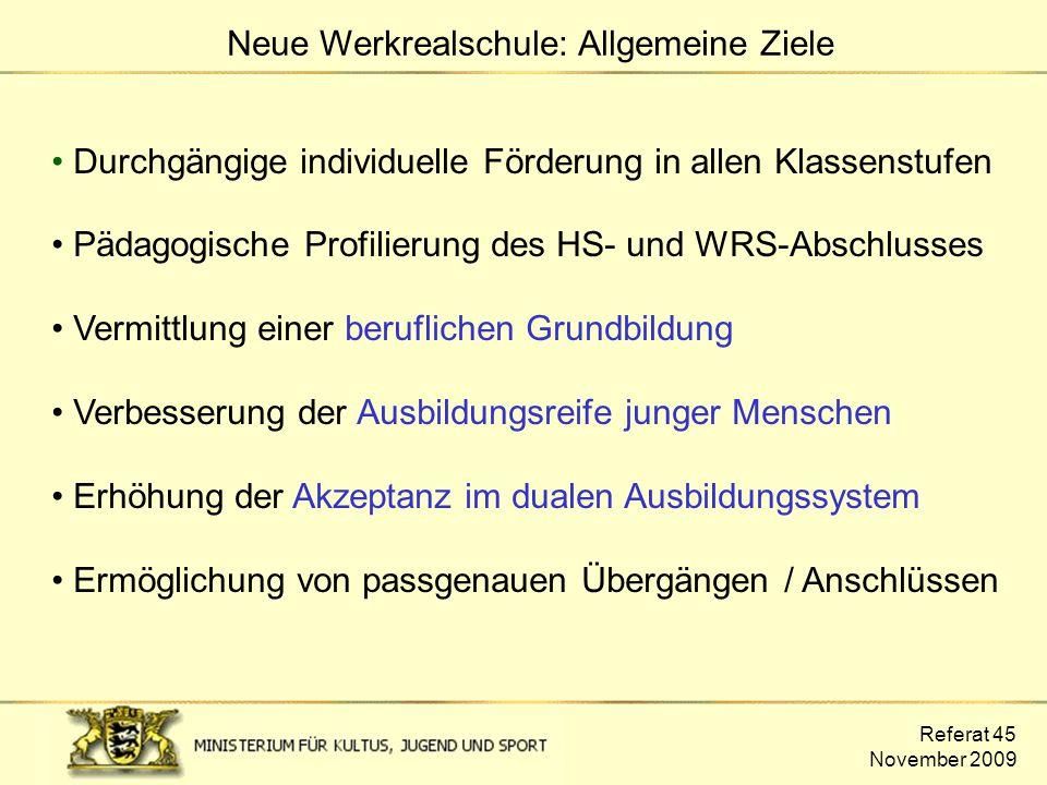 Referat 45 November 2009 Durchgängige individuelle Förderung in allen Klassenstufen Pädagogische Profilierung des HS- und WRS-Abschlusses Vermittlung