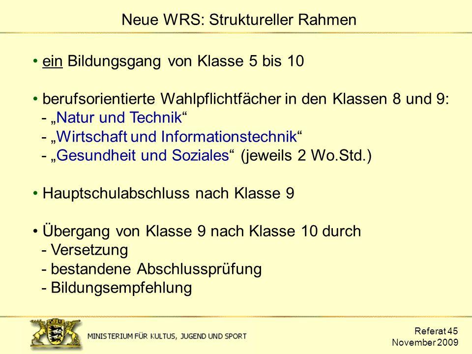 """Referat 45 November 2009 ein Bildungsgang von Klasse 5 bis 10 berufsorientierte Wahlpflichtfächer in den Klassen 8 und 9: - """"Natur und Technik"""" - """"Wir"""