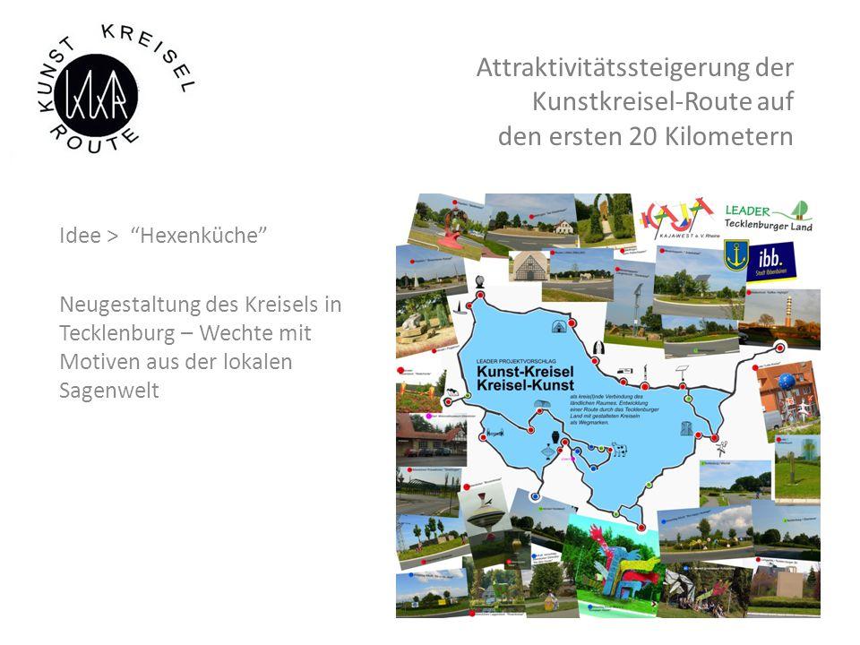 Attraktivitätssteigerung der Kunstkreisel-Route auf den ersten 20 Kilometern Idee > Hexenküche Neugestaltung des Kreisels in Tecklenburg – Wechte mit Motiven aus der lokalen Sagenwelt