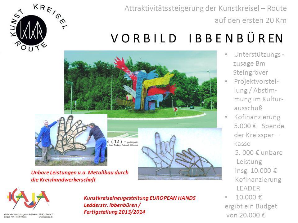 Attraktivitätssteigerung der Kunstkreisel – Route auf den ersten 20 Km Kunstkreiselneugestaltung EUROPEAN HANDS Ledderstr.