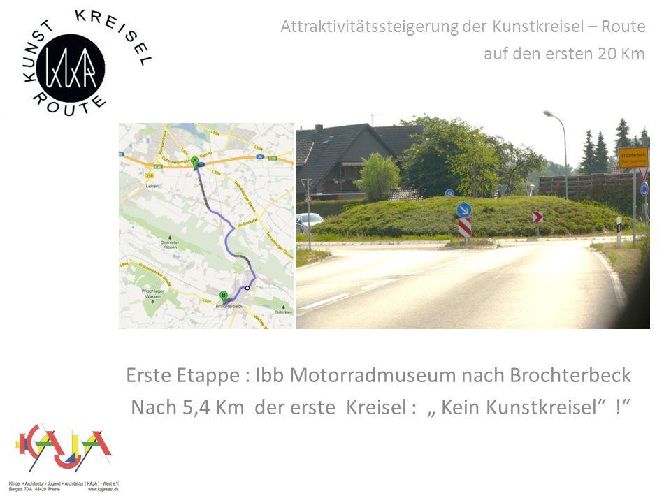 """Attraktivitätssteigerung der Kunstkreisel – Route auf den ersten 20 Km Erste Etappe : Ibb Motorradmuseum nach Brochterbeck Nach 5,4 Km der erste Kreisel : """" Kein Kunstkreisel !"""