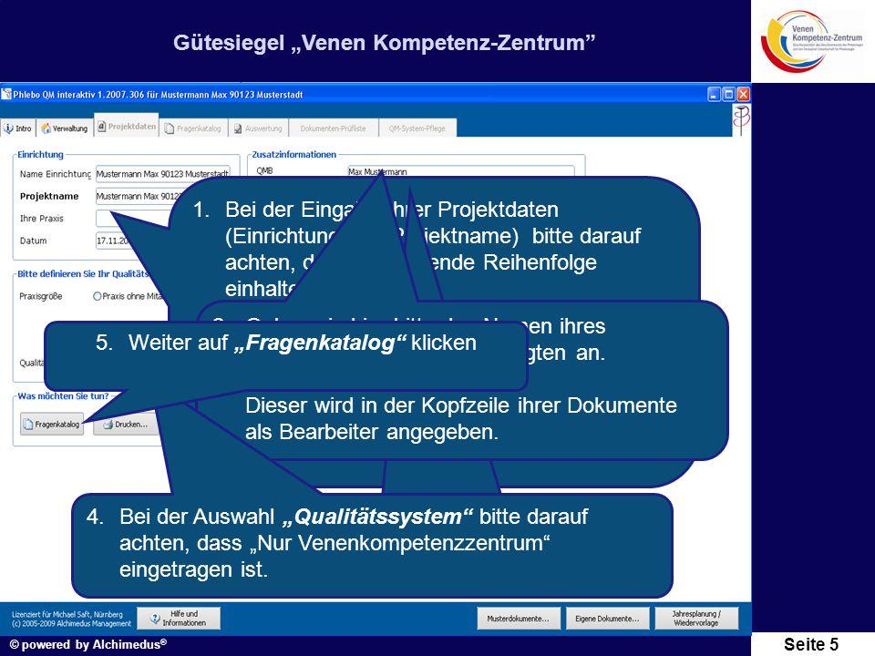 """Gütesiegel """"Venen Kompetenz-Zentrum © powered by Alchimedus ® Seite 6 Klicken sie auf """"Maßnahmen"""