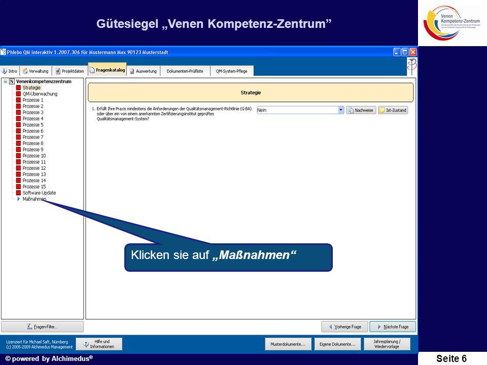 """Gütesiegel """"Venen Kompetenz-Zentrum"""" © powered by Alchimedus ® Seite 6 Klicken sie auf """"Maßnahmen"""""""