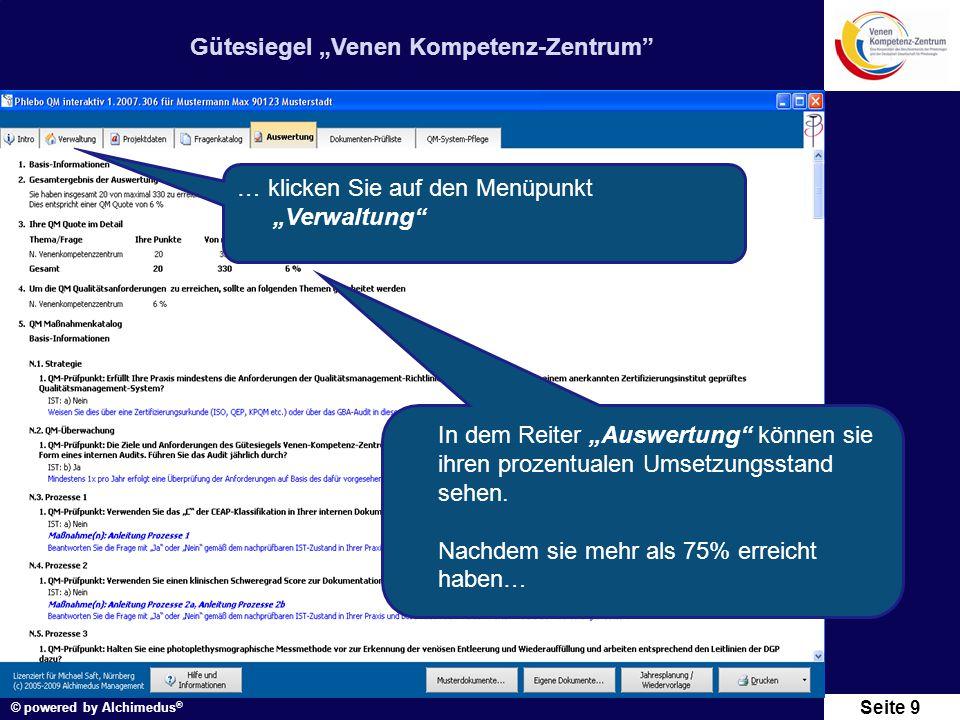"""Gütesiegel """"Venen Kompetenz-Zentrum"""" © powered by Alchimedus ® Seite 9 In dem Reiter """"Auswertung"""" können sie ihren prozentualen Umsetzungsstand sehen."""
