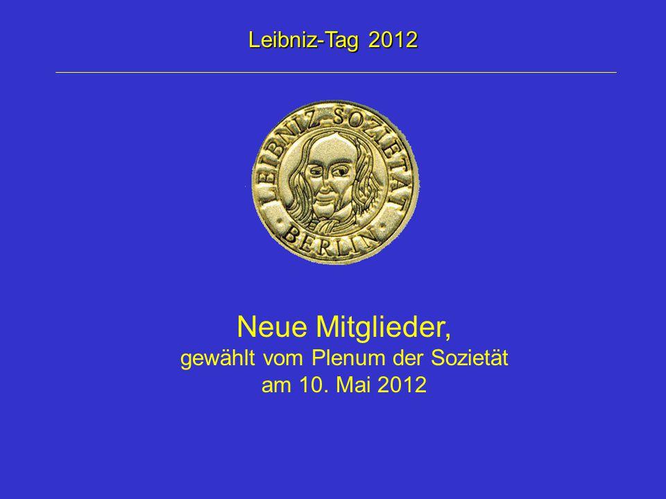 Träger des Samuel Mitja Rapoport- Kooperationspreises 2012 gewählt vom Plenum der Sozietät am 10.