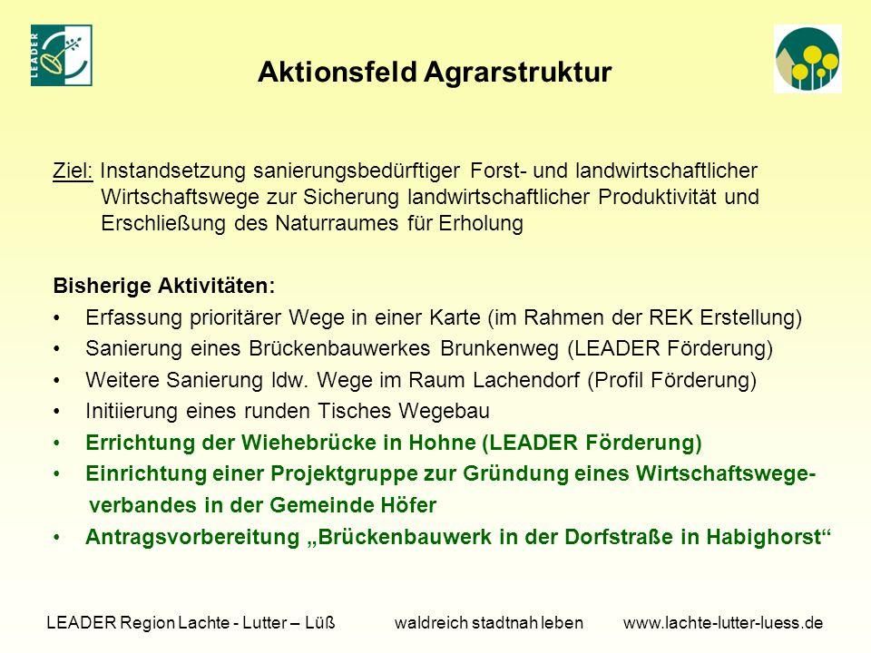 Aktionsfeld Agrarstruktur Ziel: Instandsetzung sanierungsbedürftiger Forst- und landwirtschaftlicher Wirtschaftswege zur Sicherung landwirtschaftliche