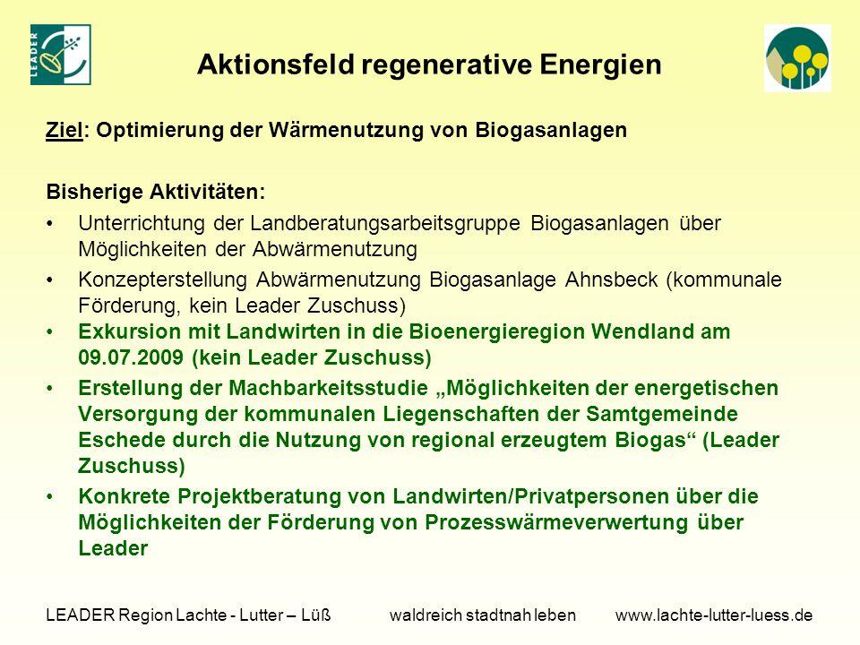 Aktionsfeld regenerative Energien Ziel: Optimierung der Wärmenutzung von Biogasanlagen Bisherige Aktivitäten: Unterrichtung der Landberatungsarbeitsgr