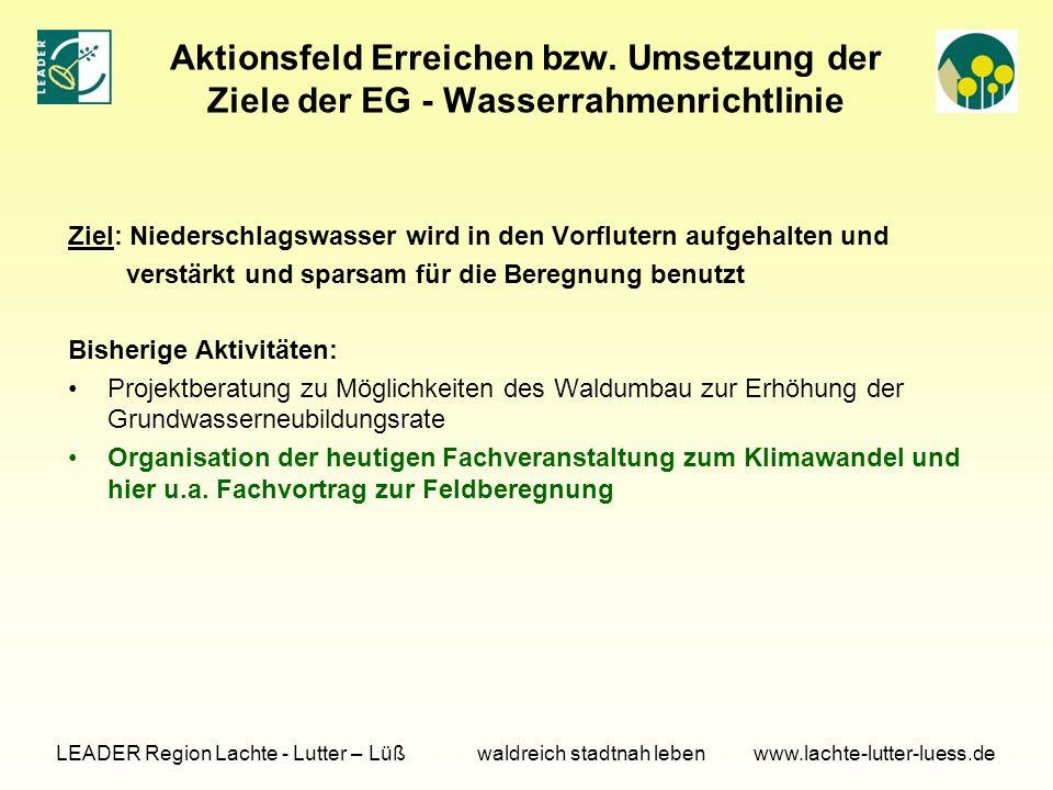 Aktionsfeld Erreichen bzw. Umsetzung der Ziele der EG - Wasserrahmenrichtlinie Ziel: Niederschlagswasser wird in den Vorflutern aufgehalten und verstä