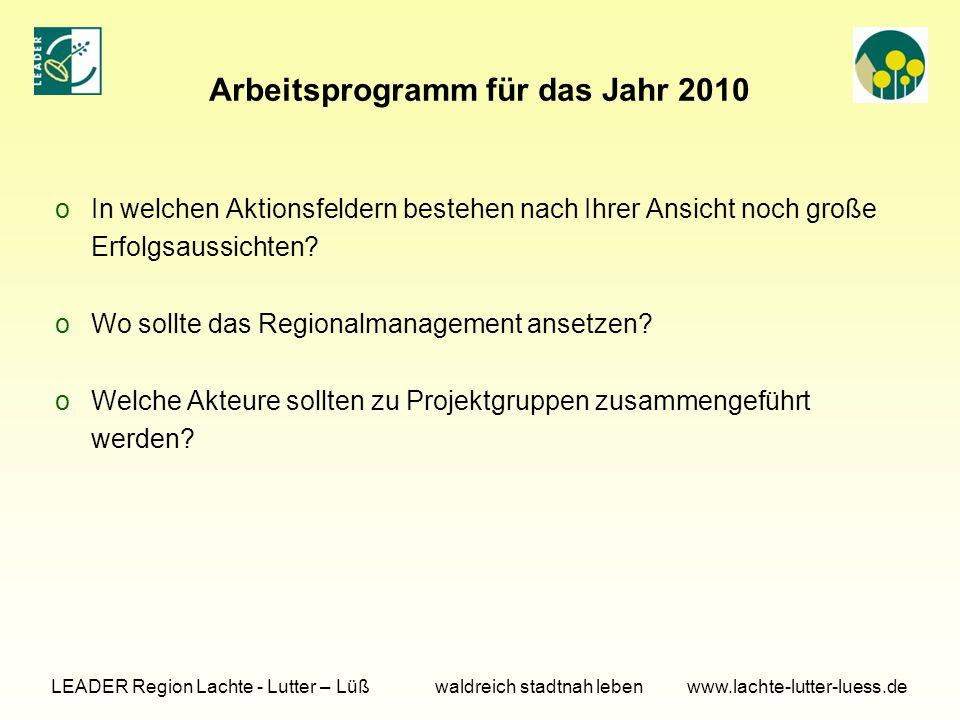 Arbeitsprogramm für das Jahr 2010 oIn welchen Aktionsfeldern bestehen nach Ihrer Ansicht noch große Erfolgsaussichten.