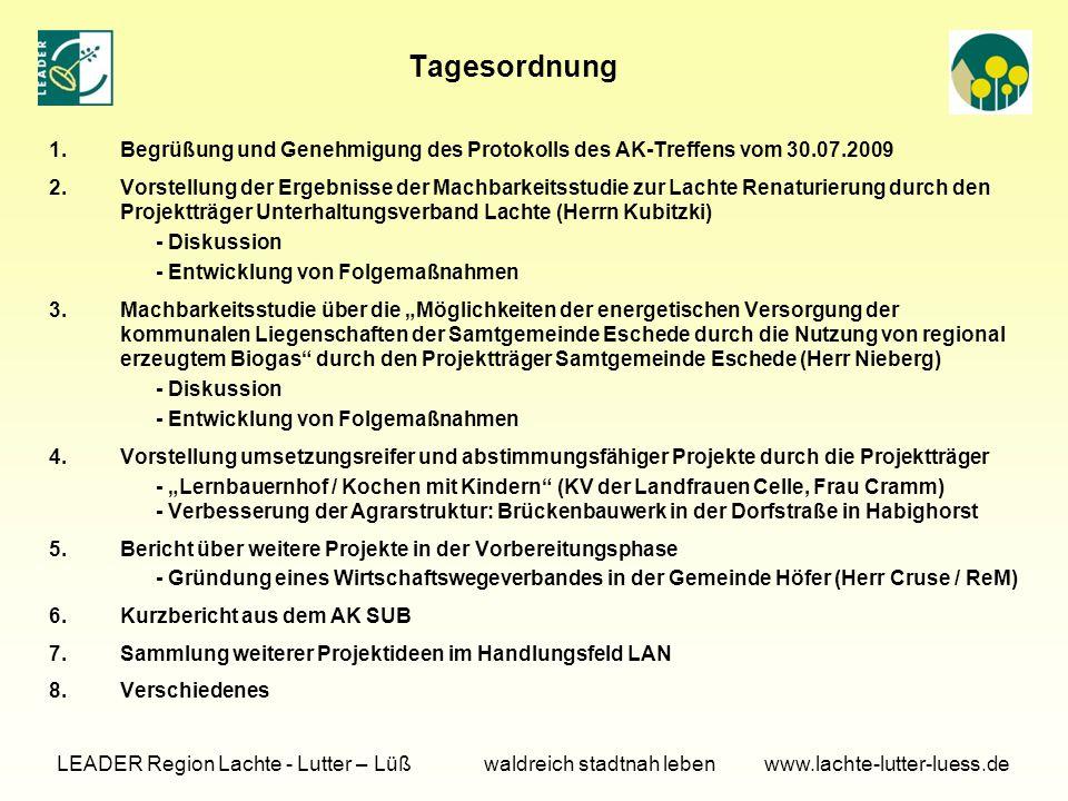Tagesordnung 1.Begrüßung und Genehmigung des Protokolls des AK-Treffens vom 30.07.2009 2.Vorstellung der Ergebnisse der Machbarkeitsstudie zur Lachte