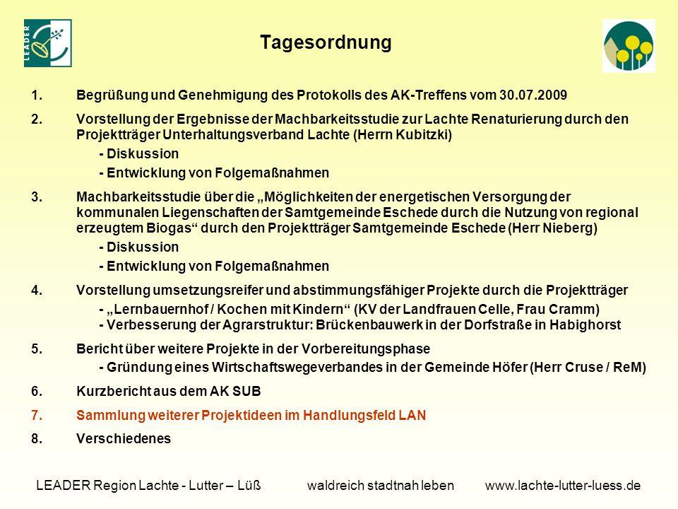TOP 2 Vorstellung der Ergebnisse der Machbarkeitsstudie zur Lachte Renaturierung (Herr Kubitzki, Geschäftsführer des Gewässer- und Landschaftspflegeverbandes Südheide)