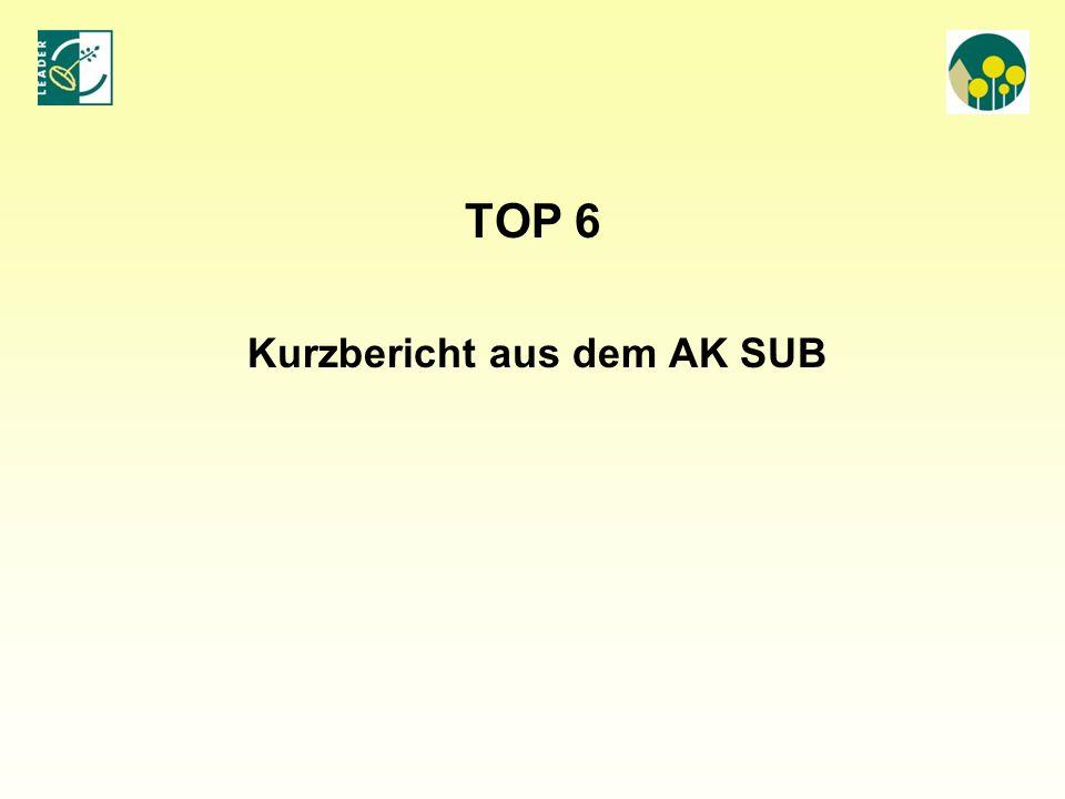 TOP 6 Kurzbericht aus dem AK SUB