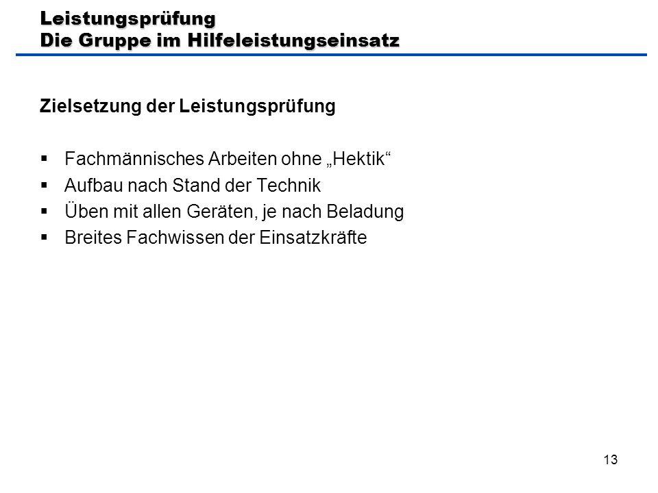 """13 Leistungsprüfung Die Gruppe im Hilfeleistungseinsatz Zielsetzung der Leistungsprüfung  Fachmännisches Arbeiten ohne """"Hektik""""  Aufbau nach Stand d"""