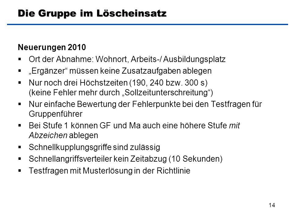 """14 Die Gruppe im Löscheinsatz Neuerungen 2010  Ort der Abnahme: Wohnort, Arbeits-/ Ausbildungsplatz  """"Ergänzer"""" müssen keine Zusatzaufgaben ablegen"""