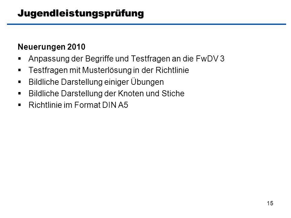 15 Jugendleistungsprüfung Neuerungen 2010  Anpassung der Begriffe und Testfragen an die FwDV 3  Testfragen mit Musterlösung in der Richtlinie  Bild