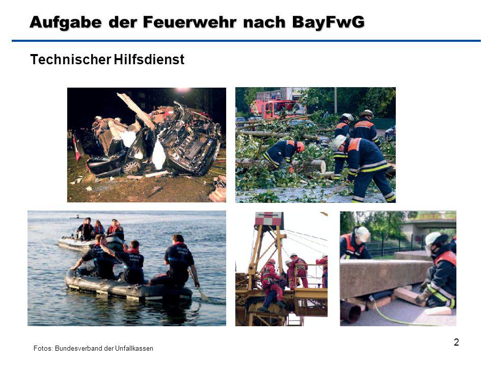 2 Aufgabe der Feuerwehr nach BayFwG Technischer Hilfsdienst Fotos: Bundesverband der Unfallkassen