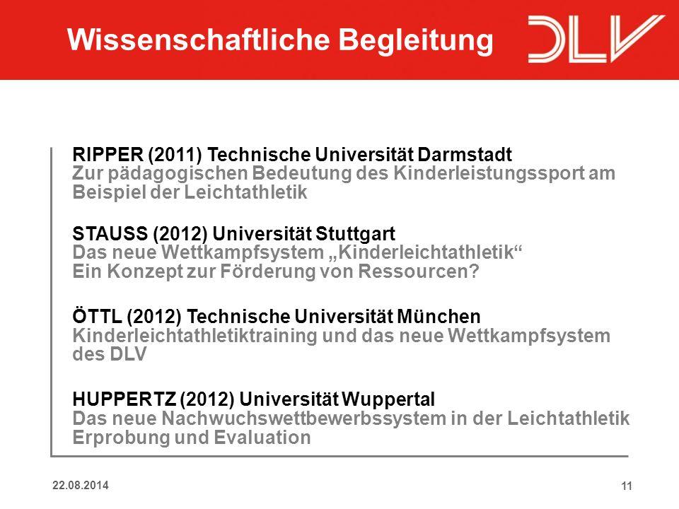 1122.08.2014 RIPPER (2011) Technische Universität Darmstadt Zur pädagogischen Bedeutung des Kinderleistungssport am Beispiel der Leichtathletik STAUSS