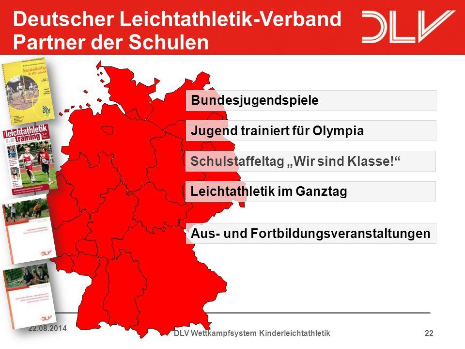 22 22.08.2014 Deutscher Leichtathletik-Verband Partner der Schulen DLV Wettkampfsystem Kinderleichtathletik Aus- und Fortbildungsveranstaltungen Jugen