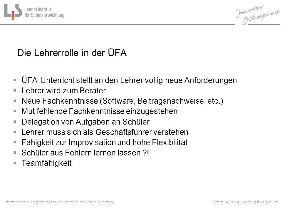 Informationen zur Übungsfirmenarbeit an beruflichen Schulen in Baden-WürttembergReferat – 4 Arbeitsgruppe Übungsfirma Kyek/Hein Platzhalter Das Lehrerteam  Echte Teamfähigkeit ist gefragt .