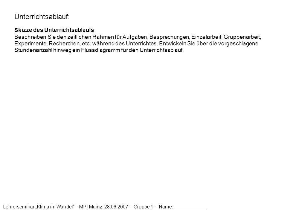 """Lehrerseminar """"Klima im Wandel"""" – MPI Mainz, 28.06.2007 – Gruppe 1 – Name: ____________ Unterrichtsablauf: Skizze des Unterrichtsablaufs Beschreiben S"""