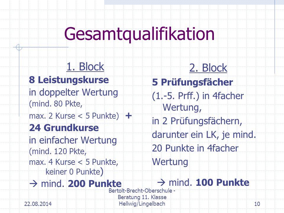 22.08.2014 Bertolt-Brecht-Oberschule - Beratung 11. Klasse Hellwig/Lingelbach10 Gesamtqualifikation 1. Block 8 Leistungskurse in doppelter Wertung (mi