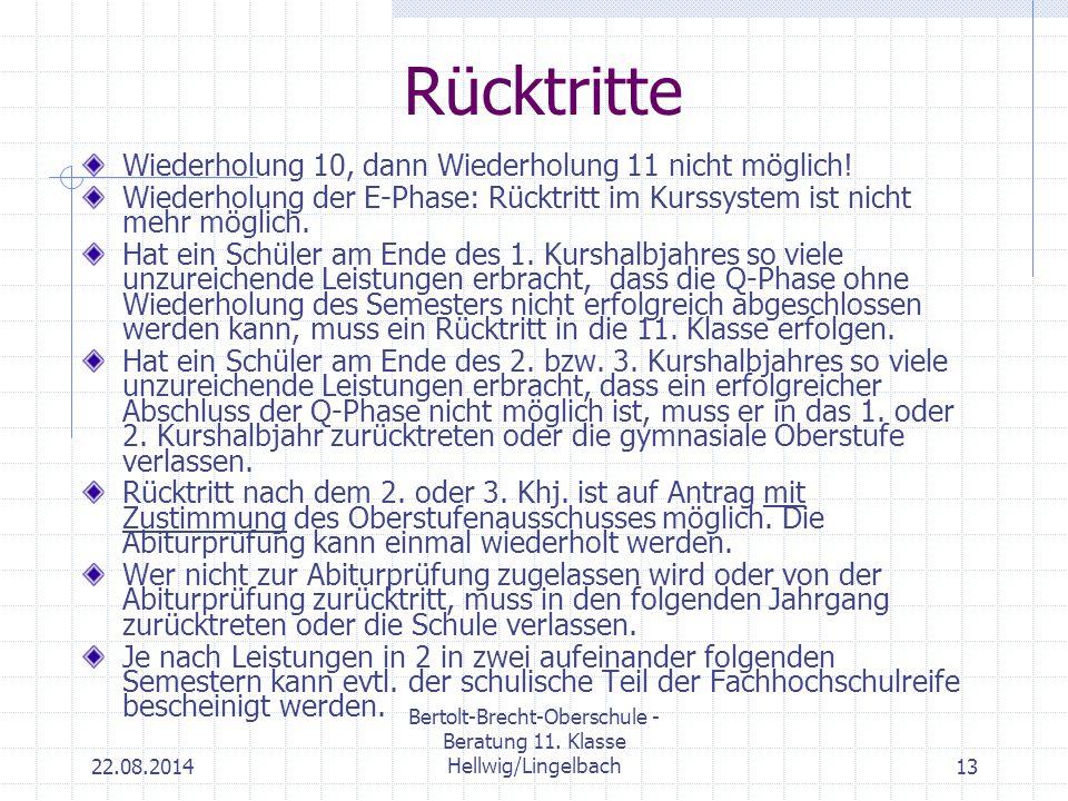 22.08.2014 Bertolt-Brecht-Oberschule - Beratung 11. Klasse Hellwig/Lingelbach13 Rücktritte Wiederholung 10, dann Wiederholung 11 nicht möglich! Wieder