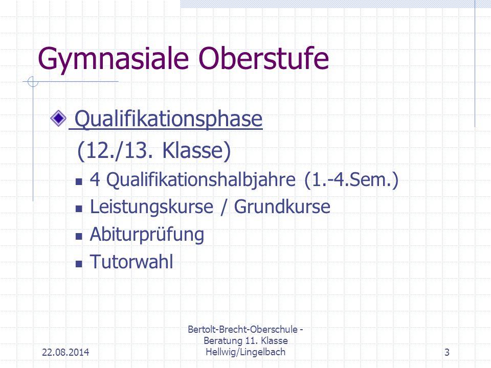 22.08.2014 Bertolt-Brecht-Oberschule - Beratung 11. Klasse Hellwig/Lingelbach3 Gymnasiale Oberstufe Qualifikationsphase (12./13. Klasse) 4 Qualifikati