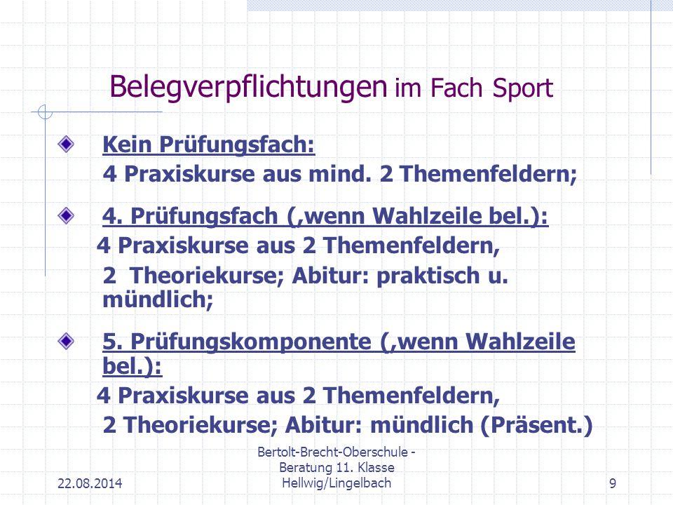 22.08.2014 Bertolt-Brecht-Oberschule - Beratung 11. Klasse Hellwig/Lingelbach9 Belegverpflichtungen im Fach Sport Kein Prüfungsfach: 4 Praxiskurse aus
