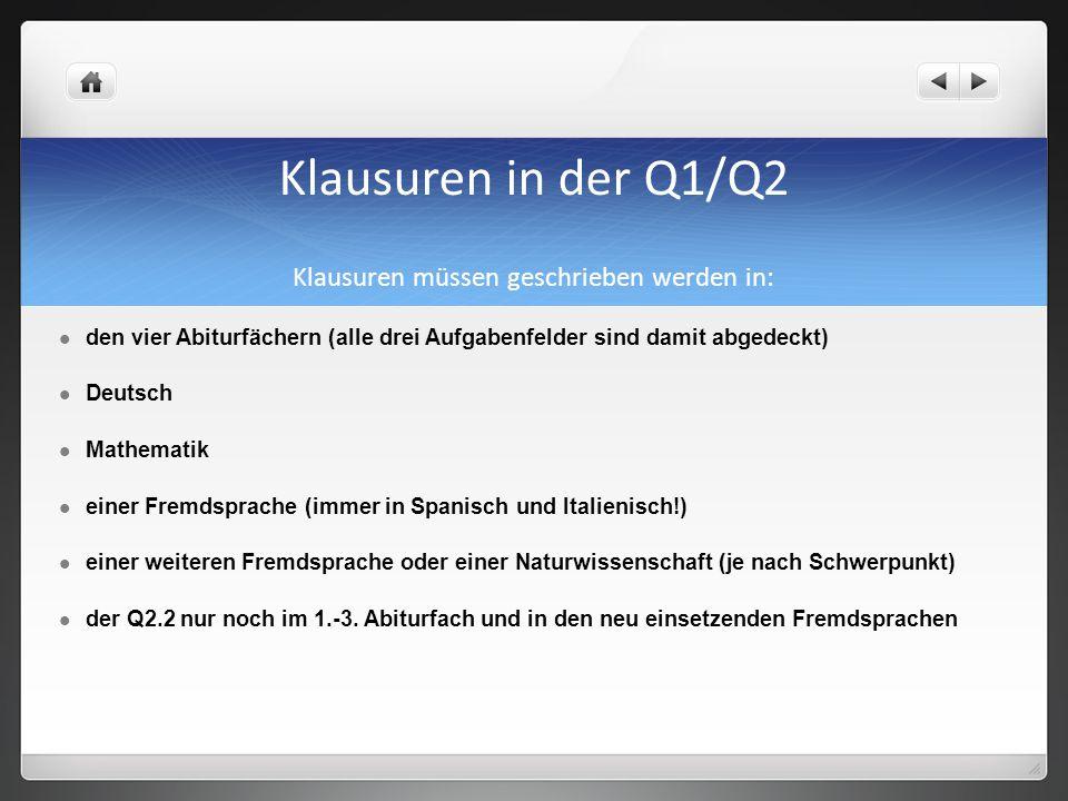 Klausuren in der Q1/Q2 Klausuren müssen geschrieben werden in: den vier Abiturfächern (alle drei Aufgabenfelder sind damit abgedeckt) Deutsch Mathemat