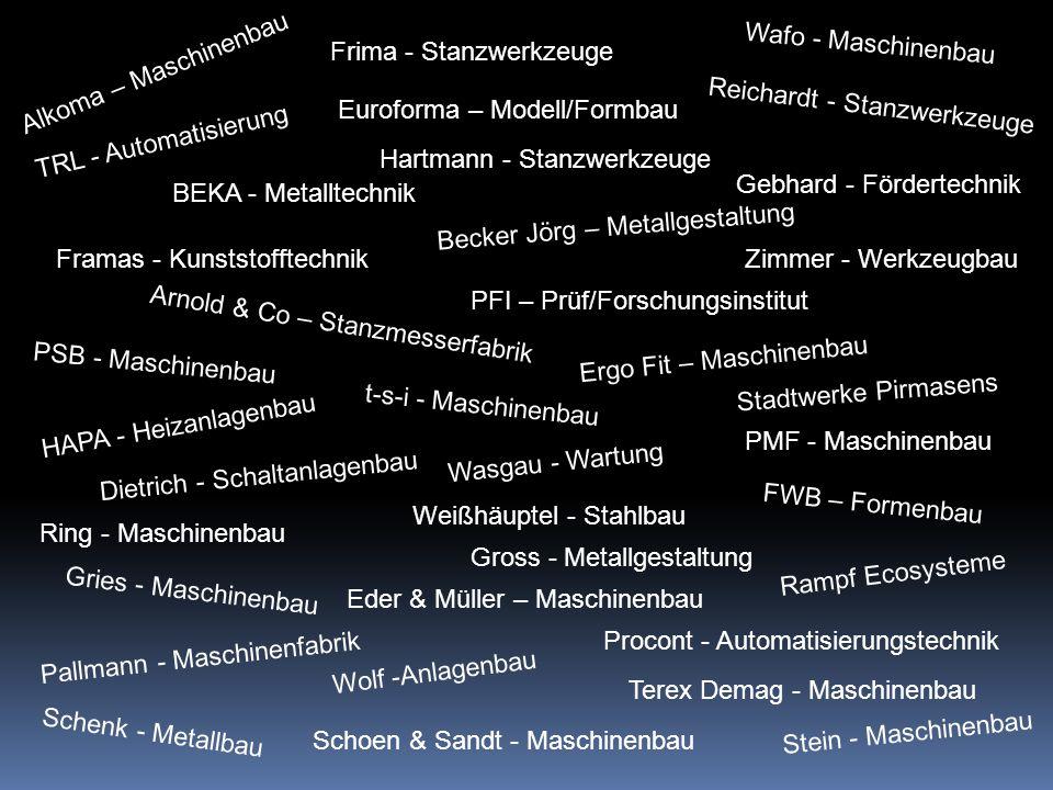 Alkoma – Maschinenbau Arnold & Co – Stanzmesserfabrik Becker Jörg – Metallgestaltung BEKA - Metalltechnik Dietrich - Schaltanlagenbau Eder & Müller – Maschinenbau Euroforma – Modell/Formbau Ergo Fit – Maschinenbau FWB – Formenbau Framas - Kunststofftechnik Frima - Stanzwerkzeuge Gebhard - Fördertechnik Gries - Maschinenbau Gross - Metallgestaltung HAPA - Heizanlagenbau Hartmann - Stanzwerkzeuge Pallmann - Maschinenfabrik PFI – Prüf/Forschungsinstitut PMF - Maschinenbau Procont - Automatisierungstechnik PSB - Maschinenbau Rampf Ecosysteme Reichardt - Stanzwerkzeuge Ring - Maschinenbau Schenk - Metallbau Schoen & Sandt - Maschinenbau Stadtwerke Pirmasens Stein - Maschinenbau Terex Demag - Maschinenbau t-s-i - Maschinenbau TRL - Automatisierung Wafo - Maschinenbau Wasgau - Wartung Weißhäuptel - Stahlbau Wolf -Anlagenbau Zimmer - Werkzeugbau