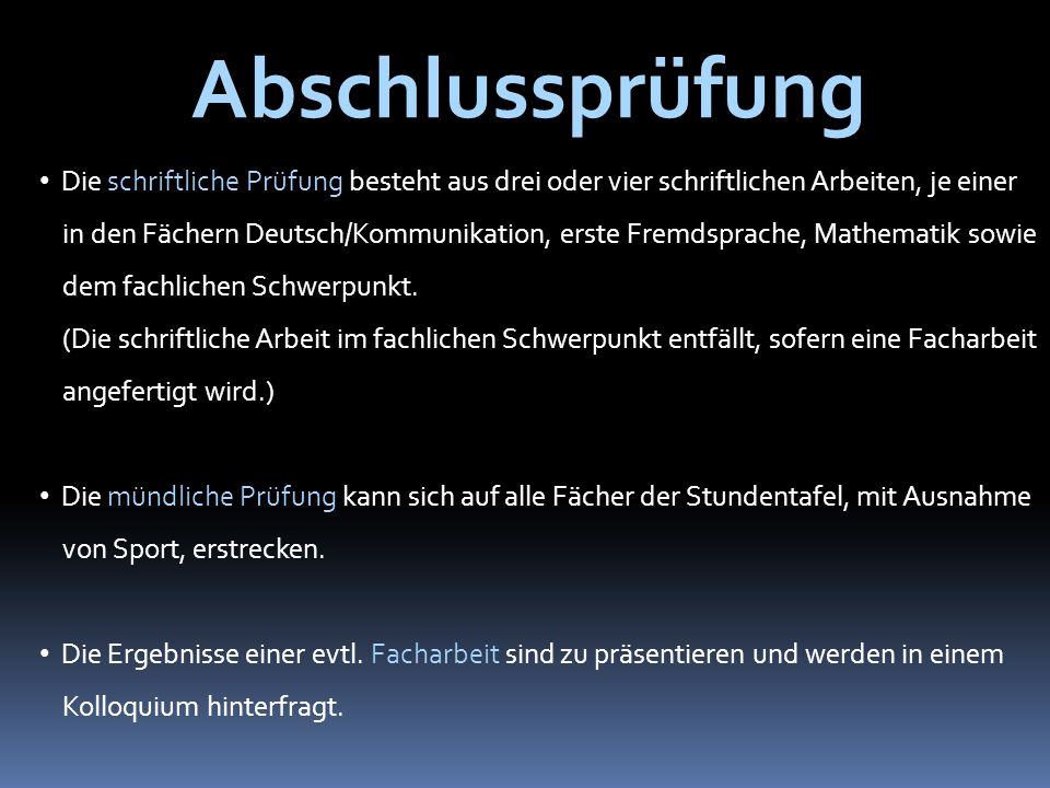 Die schriftliche Prüfung besteht aus drei oder vier schriftlichen Arbeiten, je einer in den Fächern Deutsch/Kommunikation, erste Fremdsprache, Mathematik sowie dem fachlichen Schwerpunkt.