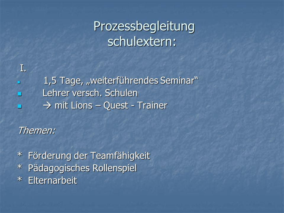 Prozessbegleitung schulextern: Prozessbegleitung schulextern: I.