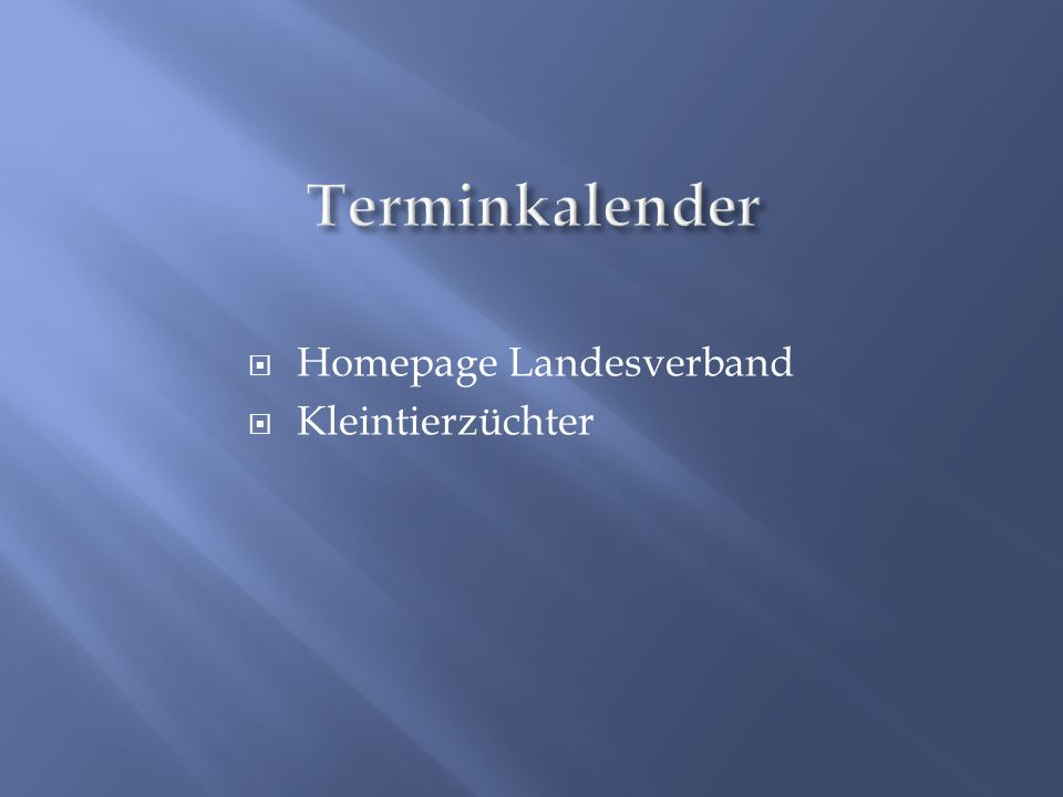  Homepage Landesverband  Kleintierzüchter