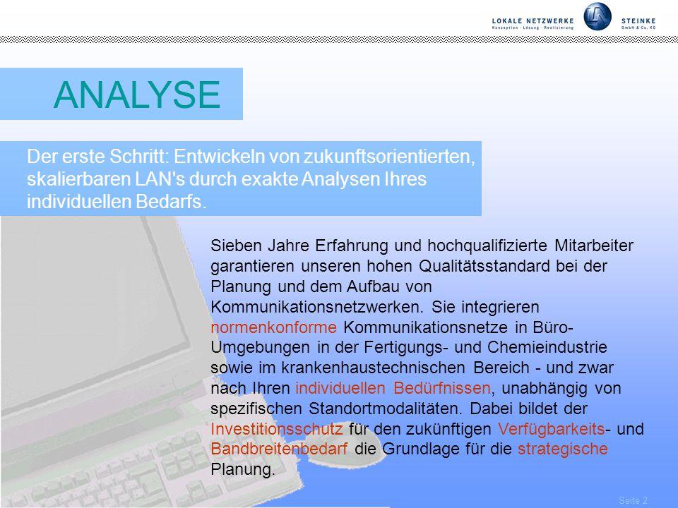 Seite 2 ANALYSE Der erste Schritt: Entwickeln von zukunftsorientierten, skalierbaren LAN s durch exakte Analysen Ihres individuellen Bedarfs.