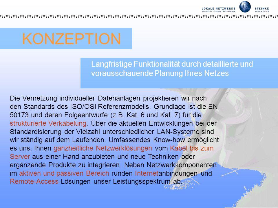 Seite 3 KONZEPTION Die Vernetzung individueller Datenanlagen projektieren wir nach den Standards des ISO/OSI Referenzmodells.