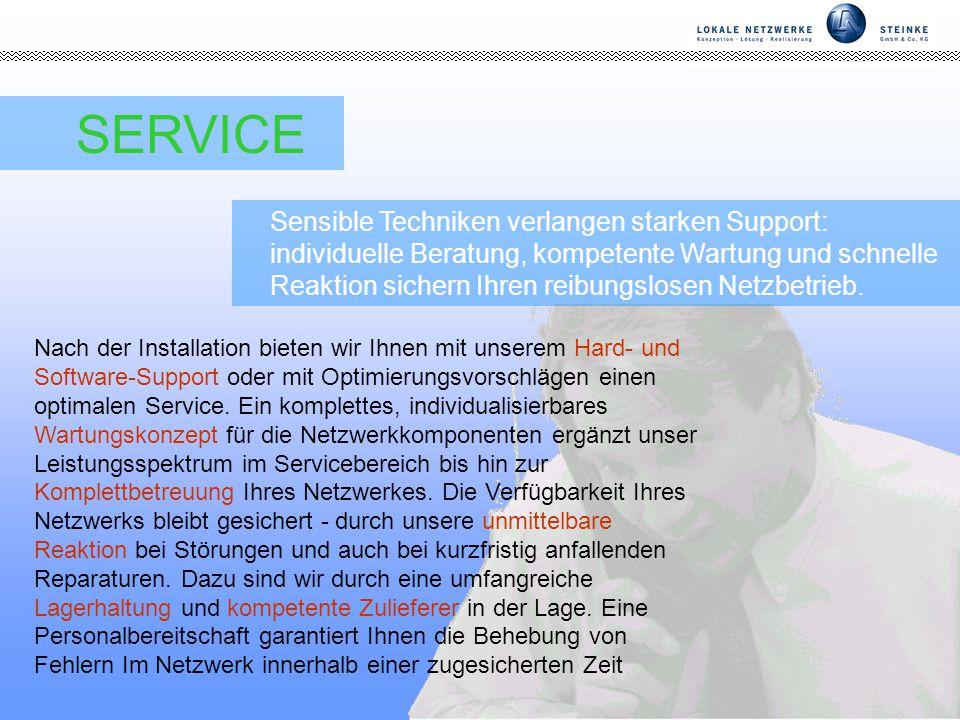 Seite 7 SERVICE Sensible Techniken verlangen starken Support: individuelle Beratung, kompetente Wartung und schnelle Reaktion sichern Ihren reibungslosen Netzbetrieb.