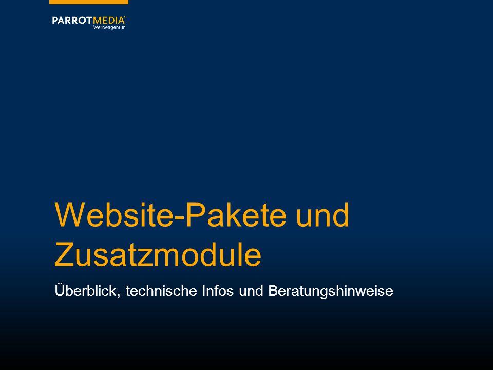 Website-Pakete und Zusatzmodule Überblick, technische Infos und Beratungshinweise