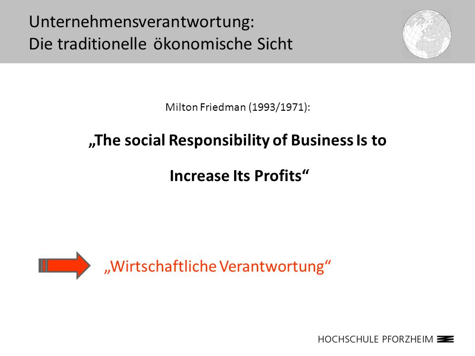 "Milton Friedman (1993/1971): ""The social Responsibility of Business Is to Increase Its Profits"" Unternehmensverantwortung: Die traditionelle ökonomisc"
