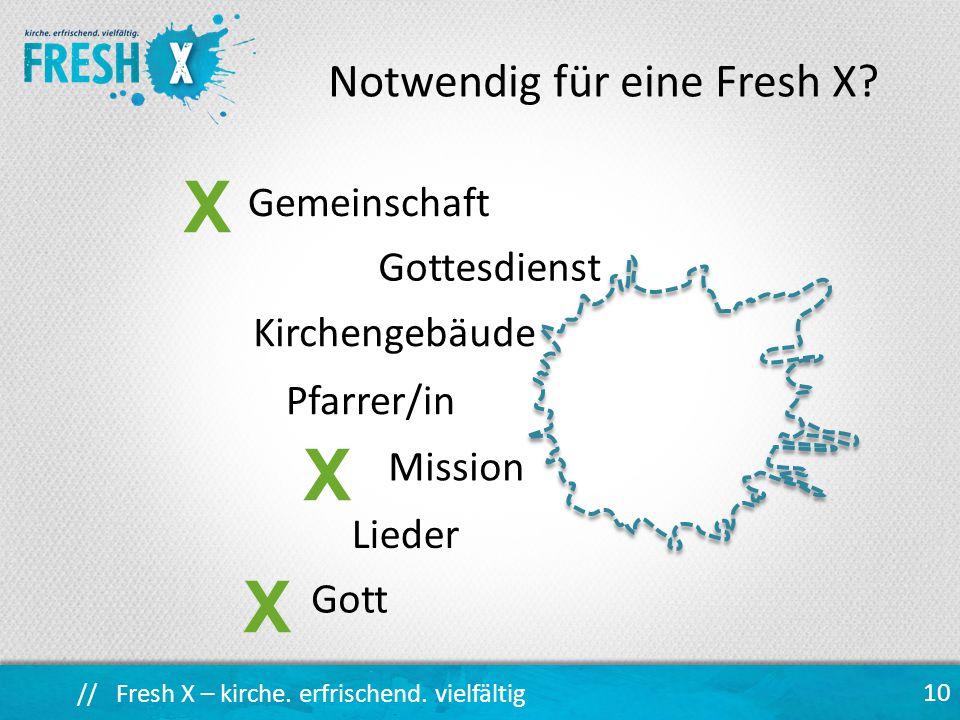 // Fresh X – kirche.erfrischend. vielfältig Gemeinschaft 10 Notwendig für eine Fresh X.