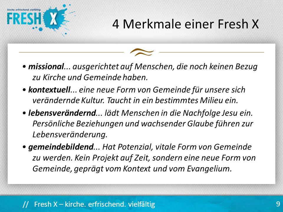 // Fresh X – kirche.erfrischend. vielfältig 9 4 Merkmale einer Fresh X missional...