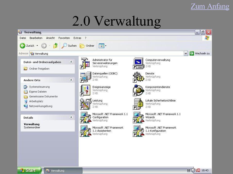 2.0 Verwaltung Zum Anfang