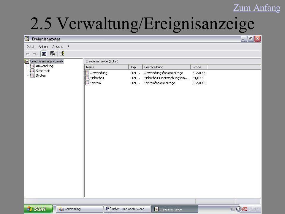 2.5 Verwaltung/Ereignisanzeige Zum Anfang