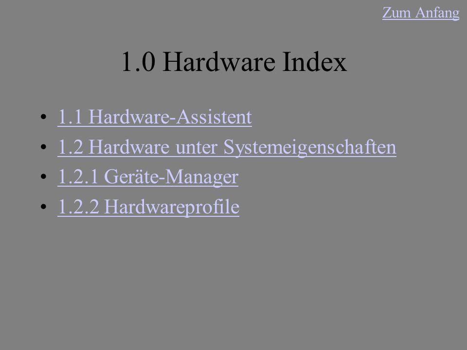 1.0 Hardware Index 1.1 Hardware-Assistent 1.2 Hardware unter Systemeigenschaften 1.2.1 Geräte-Manager 1.2.2 Hardwareprofile Zum Anfang