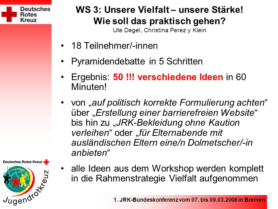 1. JRK-Bundeskonferenz vom 07. bis 09.03.2008 in Bremen WS 3: Unsere Vielfalt – unsere Stärke.
