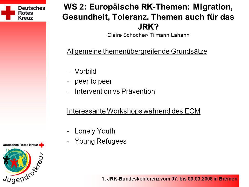 1.JRK-Bundeskonferenz vom 07. bis 09.03.2008 in Bremen WS 3: Unsere Vielfalt – unsere Stärke.