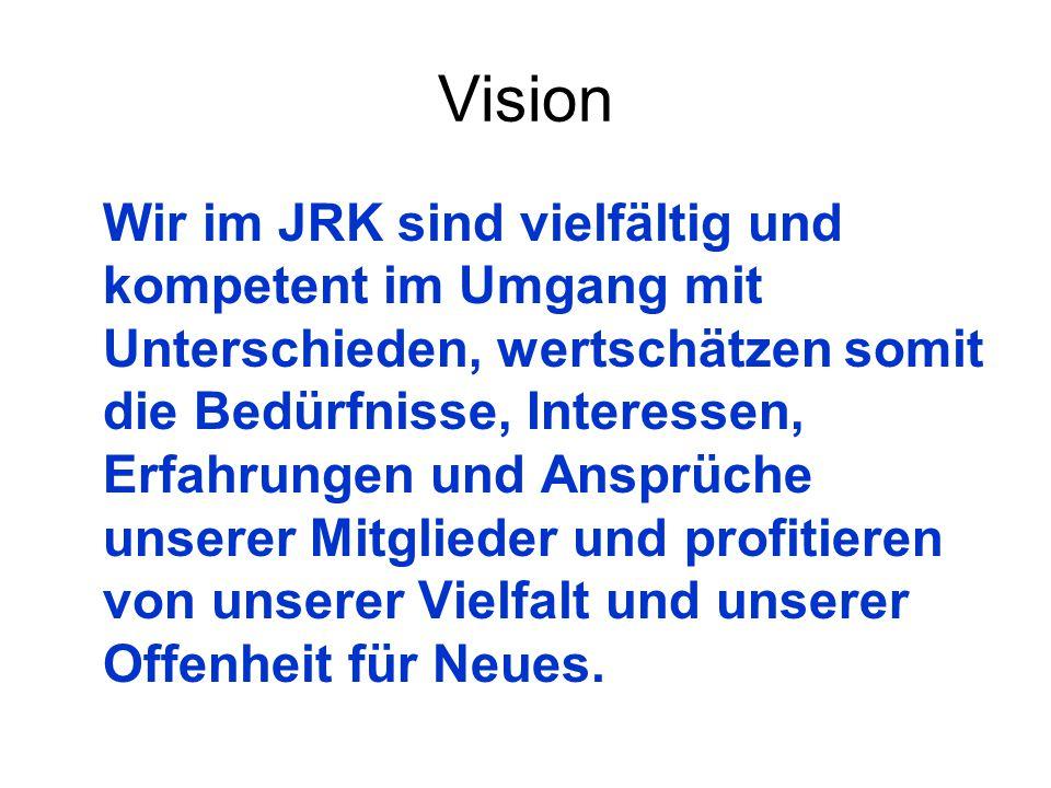 Vision Wir im JRK sind vielfältig und kompetent im Umgang mit Unterschieden, wertschätzen somit die Bedürfnisse, Interessen, Erfahrungen und Ansprüche